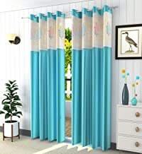 LaVichitra Polyester 7ft Door Curtain with Floral Net (Aqua) -2 Pieces