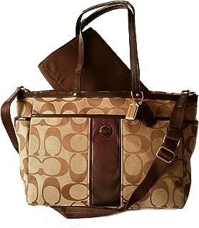 Coach Signature Stripe Multifunction Baby Diaper Travel Tote Bag