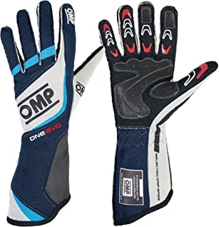 OMP ONE EVO RACING GLOVES, NAVY BLUE/WHITE/CYAN, SIZE L (Hand Palm Circumference 9-11 in)