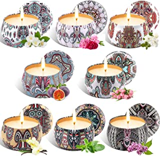 Tobeape Scented Candles Gift Set 8 Pack, Natural Soy Wax 4.4 Oz Portable Travel Tin Candle, Aromatherapy Candles, Natural ...