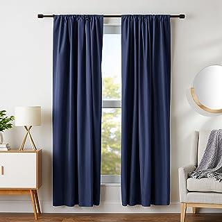 "AmazonBasics Room Darkening Blackout Window Curtains with Tie Backs Set, 42"" x 84"", Navy"
