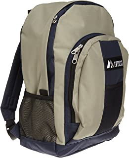 Luggage Backpack with Front and Side Pockets, Navy/Khaki, Large