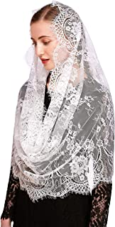 Pamor Spanish Chapel Veil Lace Vintage Inspired Floral Infinity Mantilla Veils Latin Mass Head Covering