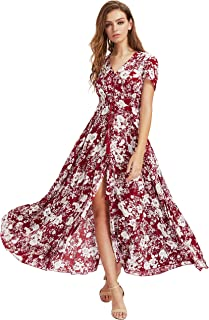 670010728589 Milumia Women Floral Print Button Up Split Flowy Party Maxi Dress
