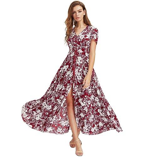 1a21574becd3 Milumia Women Floral Print Button Up Split Flowy Party Maxi Dress