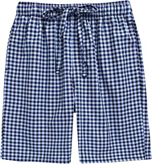 TINFL Cotton Lounge Pants for Men - 100% Soft Cotton Plaid Check Lounger Sleeping Shorts Pajama Short Pants with Pockets