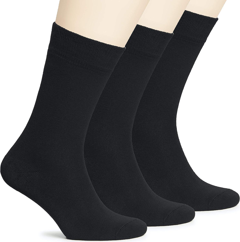 Hugh Ugoli Women's Lightweight Soft Bamboo Thin Dress Socks Crew Business Casual, 3 Pairs, Shoe Size: 6-9/9-12