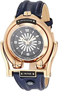 GV2 by Gevril Men's Triton Gold Tone Swiss Automatic Watch with Leather Strap, Blue, 21.5 (Model: 3406)