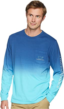 Long Sleeve Dip-Dyed Two-Tone Whale Pocket Tee