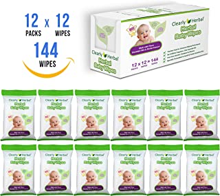 Clearly Herbal Gentle Baby Wipes Handy to Go Wipes 12 Packs x 12 Wipes = 144 Wipes