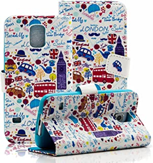 S5 Case, Galaxy S5 Case, Dteck(TM) Colorful Hand-draw Cute Cartoon Pattern PU Leather Flip Stand Magnetic Cover [Credit Card Slots] Wallet Case for Samsung Galaxy S5 i9600 (02 London Lifestyle)