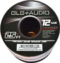 GLS Audio Premium 12 Gauge 25 Feet Speaker Wire - True 12AWG Speaker Cable 25ft Clear Jacket 25' Spool Roll 12G 12/2 Bulk