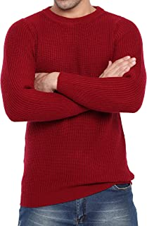 Liny Xin Men's Winter Cashmere Knitted Casual Crew Neck Long Sleeve Loose Wool Pullover Sweater Tops