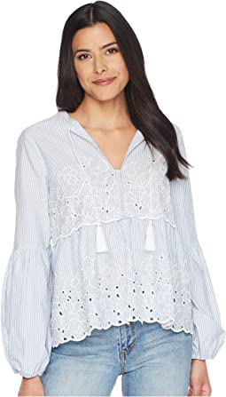 Balloon Sleeve Embroidered Blouse w/ Neck Tie