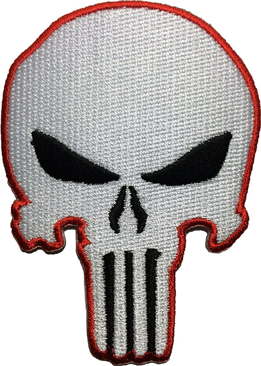 White Red Skull Sew on Iron on Embroidered Applique Patch - White and Red - By Ranger Return (RR-IRON-PUNI-SKUL-WHTE-0RED)