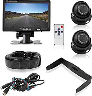 """Pyle Backup Camera System with 2 Weatherproof Cams & 7"""" Rear View Dash Mount Monitor - Night Vision, Full Color Video Secu..."""