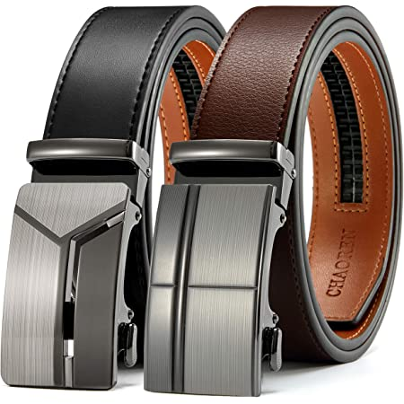 "Mens Belt Gift Set, CHAOREN Leathet Ratchet Belt for Men Dress 1 3/8"" with Automatic Buckle, Adjustable Trim to Exact Fit (Black/Brown Genuine Leather - Letter Shape Buckle"