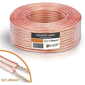 MANAX - Cavo per altoparlante, 2 x 1,5 mm², 50 m, colore: Trasparente