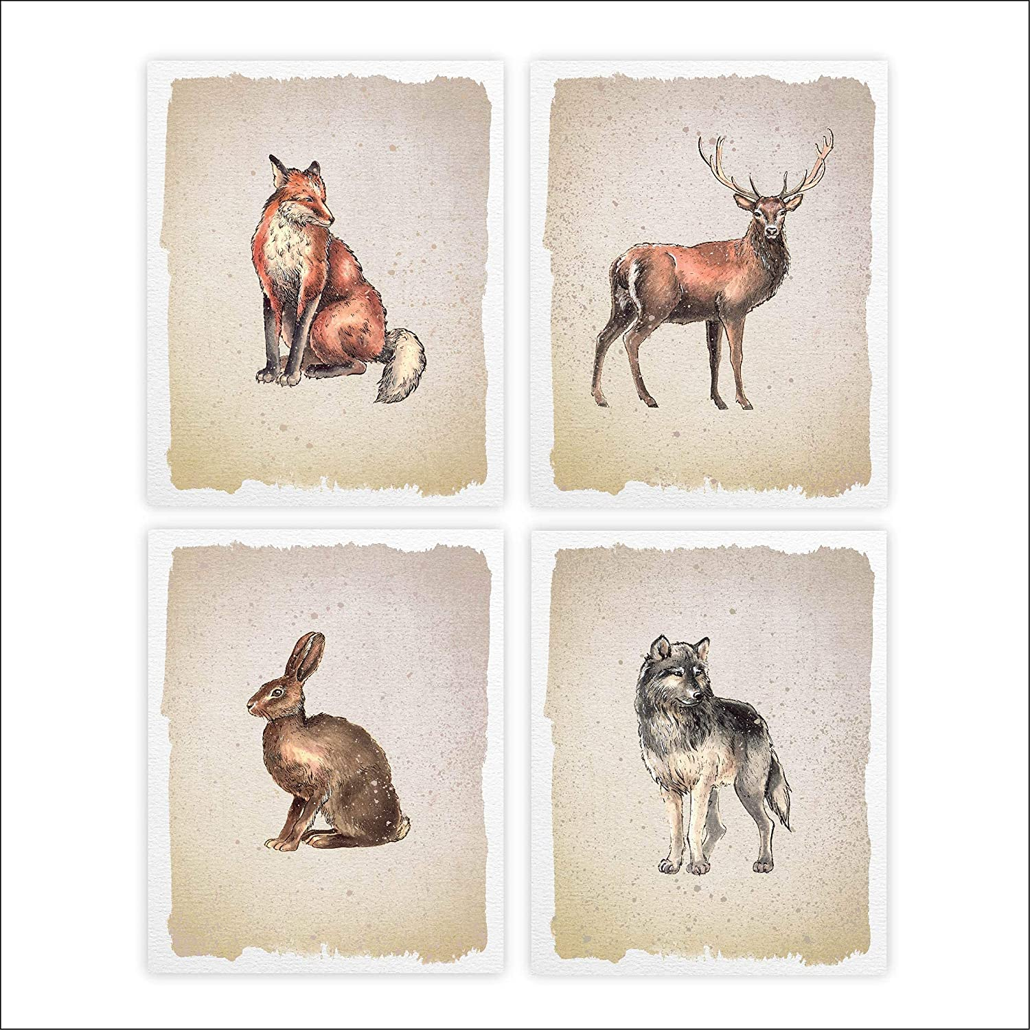 Wild Animals Art Prints Max 75% OFF Set 8x10s All items free shipping - 4 Unframed of