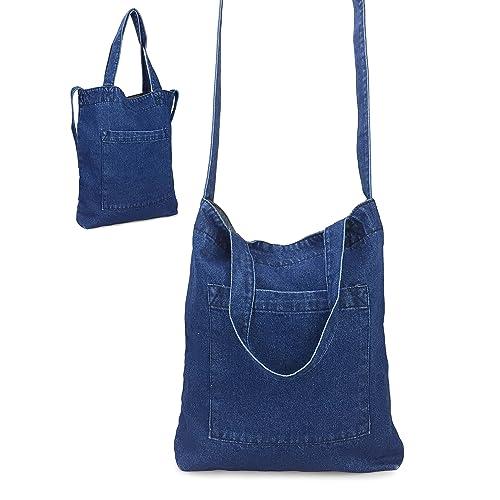 71d7df6e7362 Hoxis Multifunction Pocket Soft Denim Shoulder Handbag Women Shopper Purse