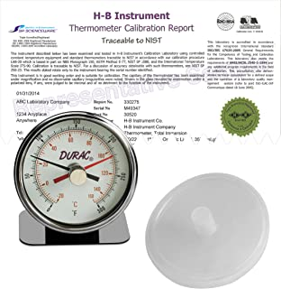 H-B DURAC Maximum Registering/Autoclave Bi-Metal Thermometer; -20 to 150C (0 to 300F), Individual Calibration Report (B60215-0000)