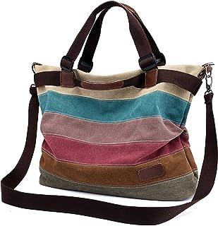 Damen Handtasche Canvas, Mädchen Lässige Umhängetasche Schultertasche Leinwand Hobo Shopper BagTasche Henkeltasche Mehrfar...
