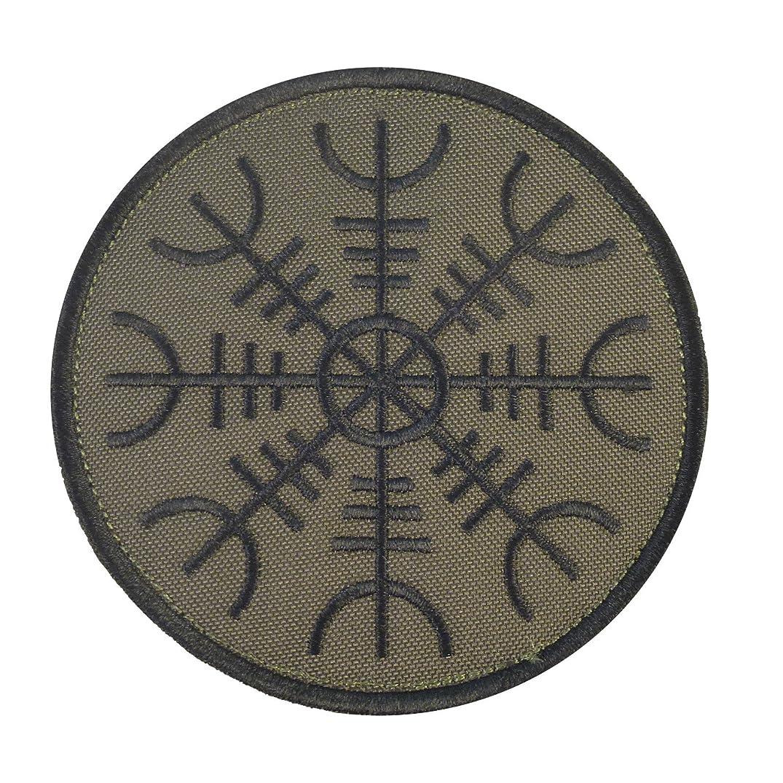 LEGEEON Aegishjalmr Viking Helm Awe Olive Drab OD Terror Protection Rune Morale Sew Iron on Patch