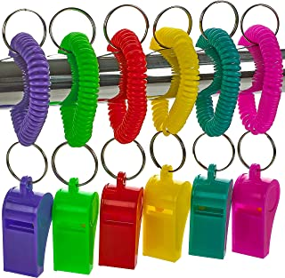 Whistle for Kids with Bracelet - (Pack of 36) Bulk Whistles and Stretchable Coil Wrist Keychain Bracelets in Assorted Colo...