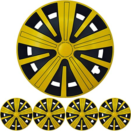 16 Zoll 4x Premium Design Radkappen Radzierblenden Spinel Bis In Gelb Schwarz Auto