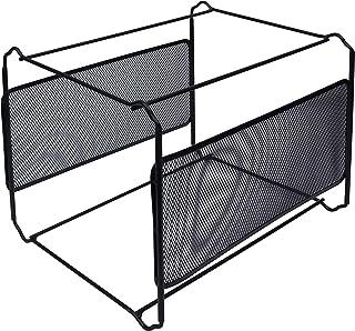 Organisateur de Bureau Noir - Casier de Rangement (33,5 cm x 25,5 cm x 28 cm) Maille en Métal - Boite de Rangement Porte-D...