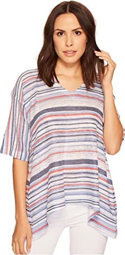 Navy Stripe Printed V-Neck Top