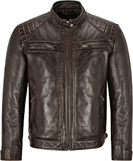 Mens Racer Leather Jacket Wood Brown Quilted Biker Fashion Leather Jacket 1201