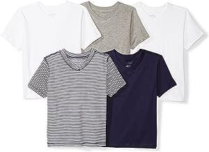 Moon and Back Girls' Infant Set of 5 Organic V-Neck Short-Sleeve T-Shirts