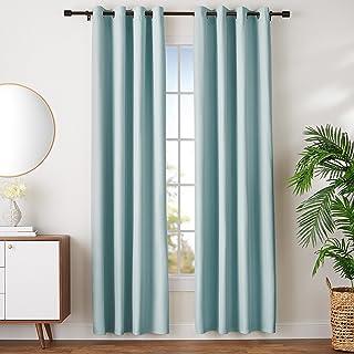 comprar comparacion AmazonBasics - Juego de cortinas que no dejan pasar la luz, con ojales, 140 x 245 cm, Verde agua
