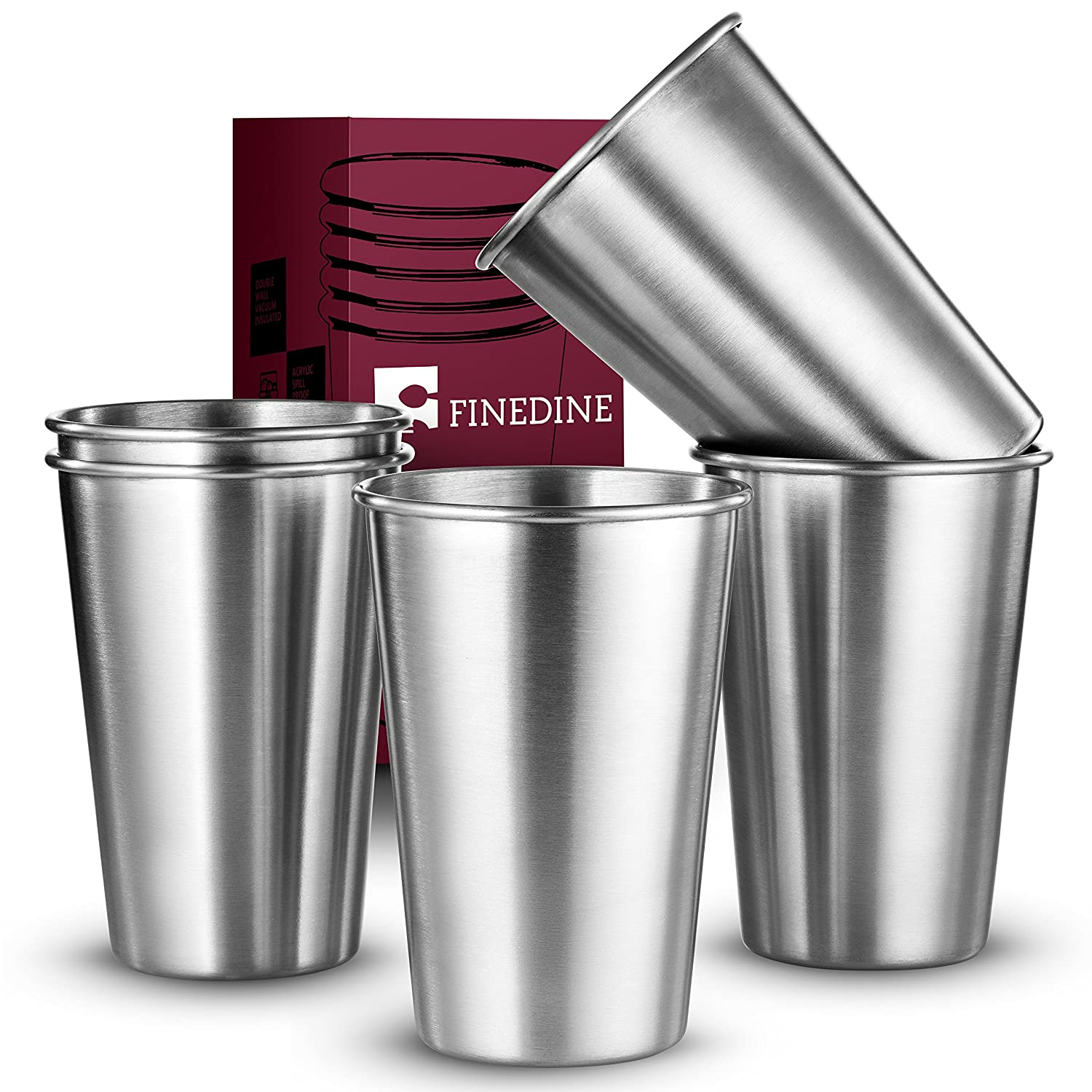 FineDine Premium Fees free!! Grade Stainless Steel Large discharge sale Cups Pint Water Tumblers