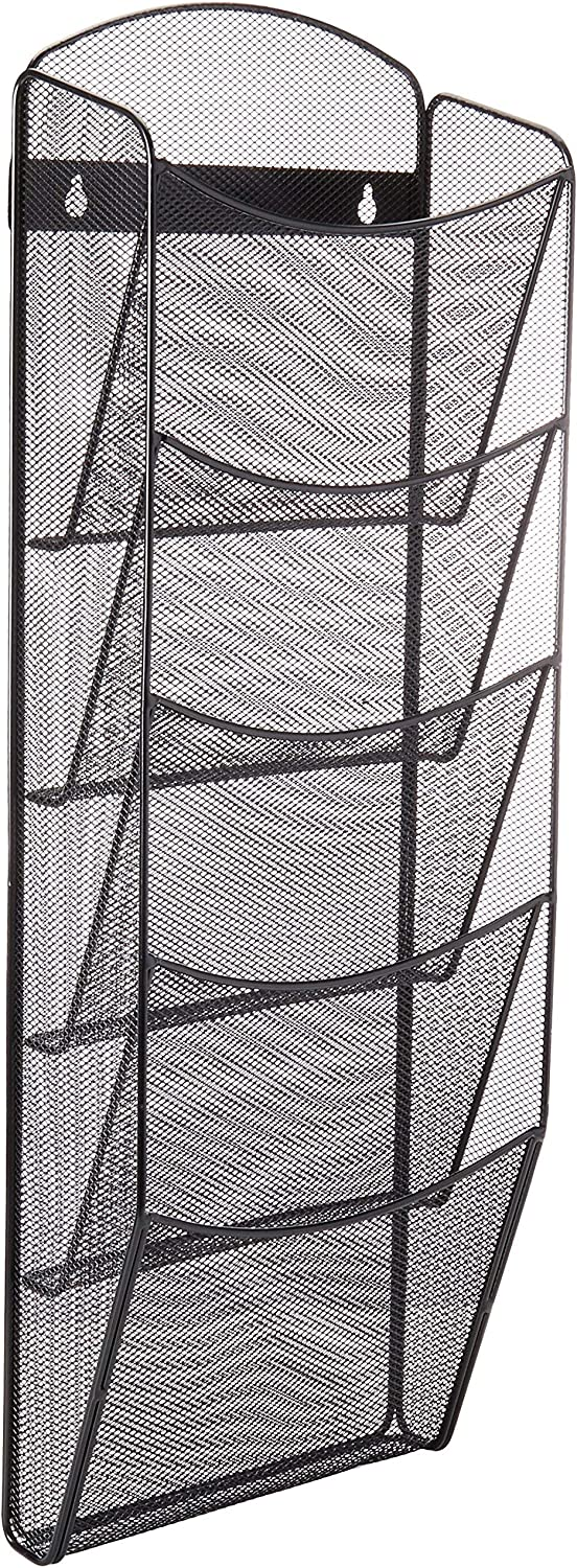 Safco Products Onyx 5 Pocket Magazine Rack 5578BL, Black Powder Coat Finish, Durable Commercial-Steel Construction
