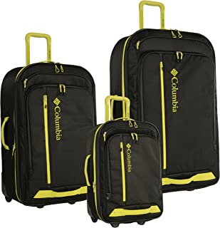 3 Piece Expandable Spinner Luggage Set, Black/fluorescent Green
