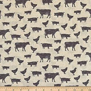 Contempo Farm Sweet Farm Farm Animals Tan Grey Fabric by the Yard