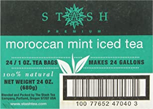 Stash Tea Moroccan Mint Green Tea 1 Ounce Iced Tea Brew Bags (Pack of 24) Green Tea Bags for Brewing Iced Tea, One Bag Makes 3 Quarts of Iced Tea, Drink Sweetened or Plain