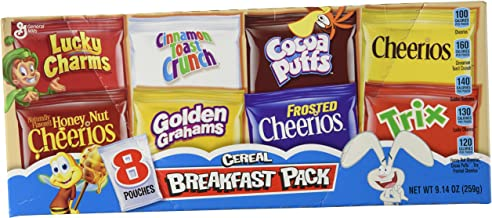 General Mills, Assorted Breakfast Cereal Pouches, 8 Count, 9.14oz Box (Pack of 2)