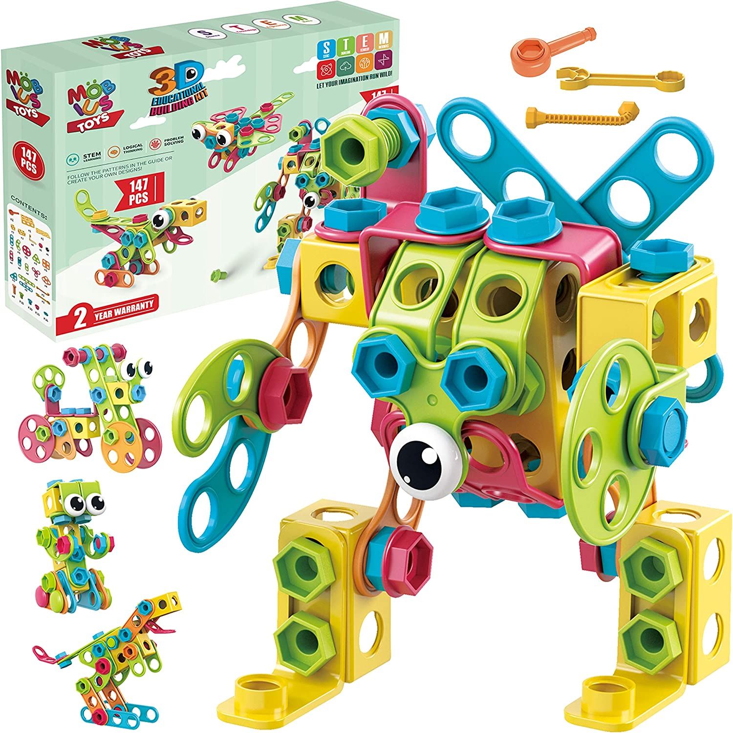 STEM Toys KIT 147 PCS Building Blocks Learning Set for Boys /& Girls 4 5 6 7 8 Years Old Educational Construction Set 34 Models Step-by-Step Guide Mobius Creative Engineering Toy
