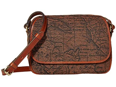 Patricia Nash Belleau New Flap Rect Crossbody w/ One Strap (Brown/Tan) Handbags