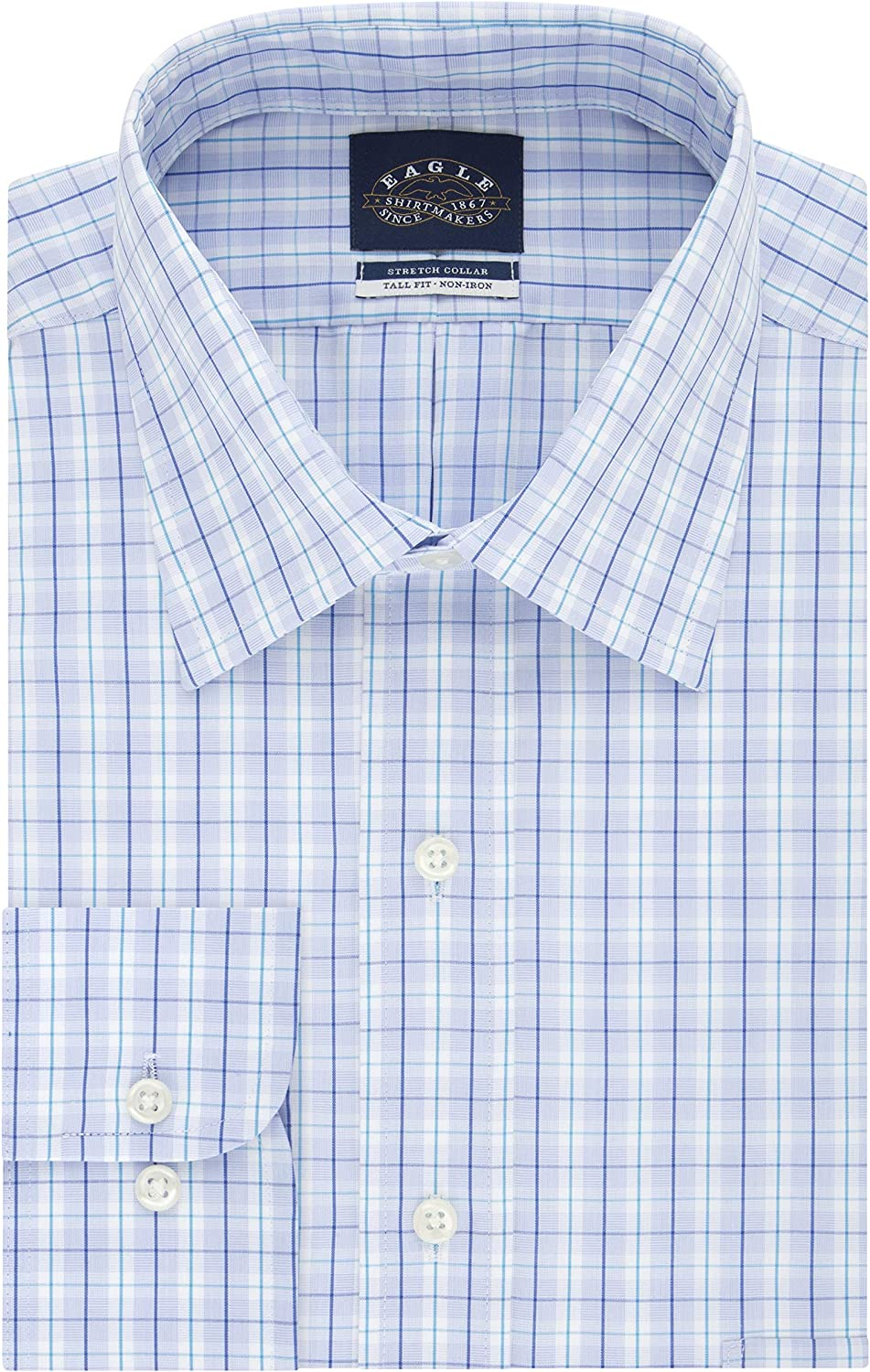 Eagle Men's TALL FIT Inventory cleanup selling sale Dress Shirts Check Non Ranking TOP11 Big an Stretch Iron