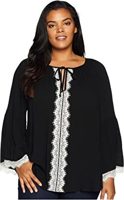 Plus Size Lace Sleeve Top