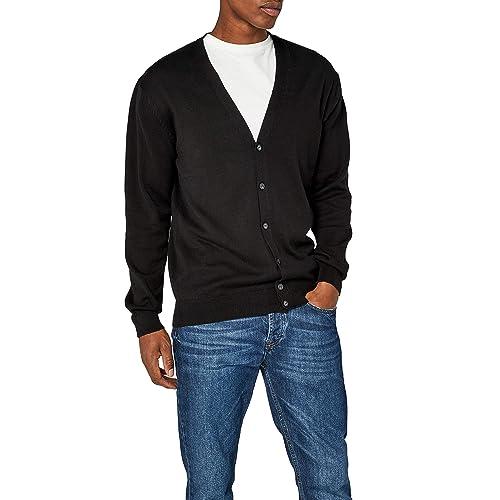 2b3d862a7264 Men s Black Cardigans  Amazon.co.uk