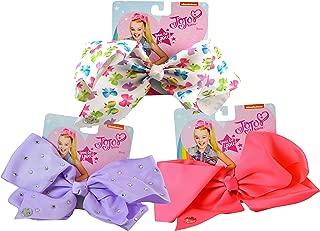 3-PACK, JoJo Siwa Signature Hair Bows Collection- Print Bows, Lavender Rhinestones, Neon Pink
