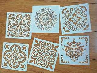 Mandala Reusable Stencil Set of 6 (6x6 inch) Painting Stencil, Laser Cut Painting Template for DIY Decor, Painting on Wood, Airbrush, Rocks and Walls Art(E)