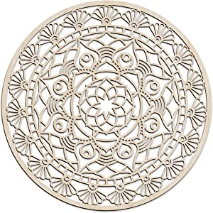 Ambesonne Mandala Wooden Wall Art, Floral Oriental Ornament Art Deco Details, Birch Wood Plywood Rustic Wall Art Accent for Hallway Bedroom Living Room Cafes and Offices, 11.4