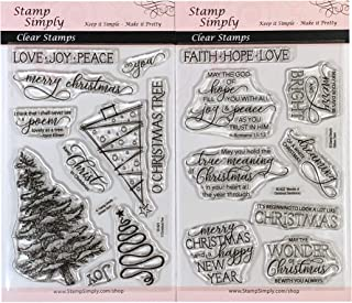 Stamp Simply Clear Stamps O Xmas Tree and Wonder of Christmas Sentiments (2-Pack) 4x6 Inch Sheets - 18 Pieces
