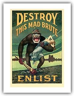 The Ibis Print Gallery - Harry R. Hopps Propaganda Poster : ''Destroy This Mad Brute – Enlist U.S. Army'' (1917) - Giclee Fine Art Print